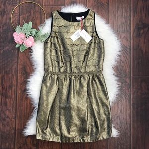 NEW See By Chloe Gold Jacquard Scalloped Dress